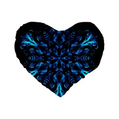 Blue Snowflake On Black Background Standard 16  Premium Flano Heart Shape Cushions by Nexatart