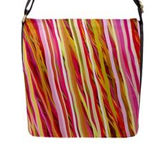 Color Ribbons Background Wallpaper Flap Messenger Bag (l)  by Nexatart