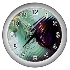 Out Of Time Glass Pearl Flowag Wall Clocks (Silver)