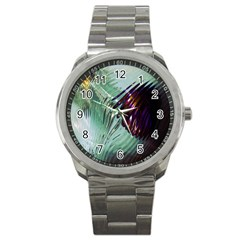 Out Of Time Glass Pearl Flowag Sport Metal Watch by Nexatart