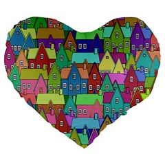 Neighborhood In Color Large 19  Premium Heart Shape Cushions by Nexatart