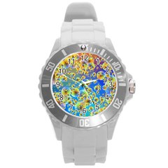 Color Particle Background Round Plastic Sport Watch (l) by Nexatart