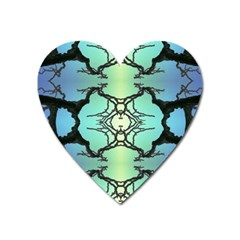 Branches With Diffuse Colour Background Heart Magnet by Nexatart