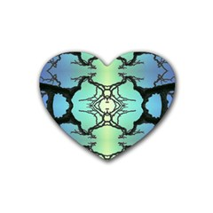 Branches With Diffuse Colour Background Rubber Coaster (heart)  by Nexatart
