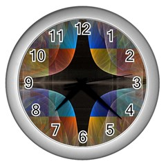 Black Cross With Color Map Fractal Image Of Black Cross With Color Map Wall Clocks (silver)  by Nexatart