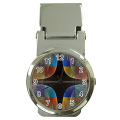 Black Cross With Color Map Fractal Image Of Black Cross With Color Map Money Clip Watches by Nexatart