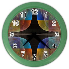 Black Cross With Color Map Fractal Image Of Black Cross With Color Map Color Wall Clocks by Nexatart