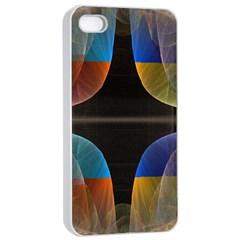 Black Cross With Color Map Fractal Image Of Black Cross With Color Map Apple Iphone 4/4s Seamless Case (white) by Nexatart