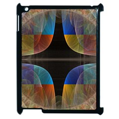 Black Cross With Color Map Fractal Image Of Black Cross With Color Map Apple Ipad 2 Case (black) by Nexatart