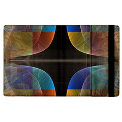 Black Cross With Color Map Fractal Image Of Black Cross With Color Map Apple Ipad 3/4 Flip Case by Nexatart