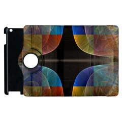 Black Cross With Color Map Fractal Image Of Black Cross With Color Map Apple Ipad 2 Flip 360 Case by Nexatart