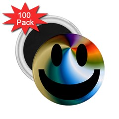 Simple Smiley In Color 2 25  Magnets (100 Pack)  by Nexatart
