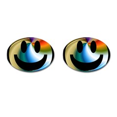 Simple Smiley In Color Cufflinks (oval) by Nexatart