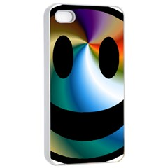 Simple Smiley In Color Apple iPhone 4/4s Seamless Case (White)