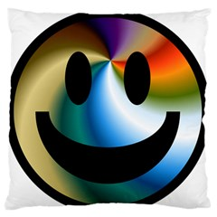 Simple Smiley In Color Large Flano Cushion Case (two Sides) by Nexatart