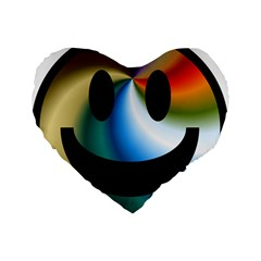 Simple Smiley In Color Standard 16  Premium Flano Heart Shape Cushions by Nexatart