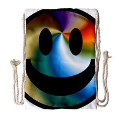Simple Smiley In Color Drawstring Bag (large) by Nexatart