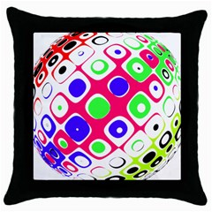 Color Ball Sphere With Color Dots Throw Pillow Case (Black)