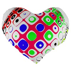 Color Ball Sphere With Color Dots Large 19  Premium Flano Heart Shape Cushions by Nexatart