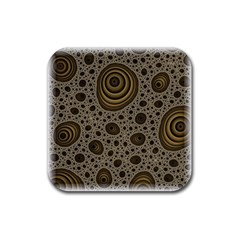 White Vintage Frame With Sepia Targets Rubber Coaster (square)  by Nexatart