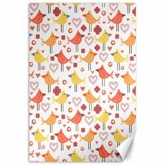 Happy Birds Seamless Pattern Animal Birds Pattern Canvas 24  X 36  by Nexatart