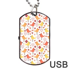 Happy Birds Seamless Pattern Animal Birds Pattern Dog Tag Usb Flash (one Side) by Nexatart