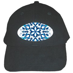 Blue Snowflake On Black Background Black Cap by Nexatart