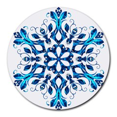 Blue Snowflake On Black Background Round Mousepads by Nexatart
