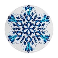 Blue Snowflake On Black Background Ornament (round) by Nexatart