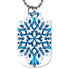 Blue Snowflake On Black Background Dog Tag (two Sides) by Nexatart