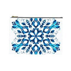 Blue Snowflake On Black Background Cosmetic Bag (large)  by Nexatart