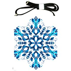 Blue Snowflake On Black Background Shoulder Sling Bags by Nexatart