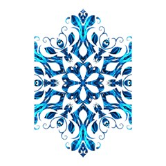 Blue Snowflake On Black Background Shower Curtain 48  X 72  (small)  by Nexatart