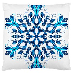 Blue Snowflake On Black Background Large Cushion Case (one Side) by Nexatart