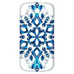 Blue Snowflake On Black Background Samsung Galaxy S3 S Iii Classic Hardshell Back Case by Nexatart