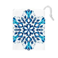 Blue Snowflake On Black Background Drawstring Pouches (large)  by Nexatart