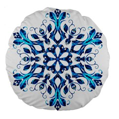Blue Snowflake On Black Background Large 18  Premium Flano Round Cushions by Nexatart