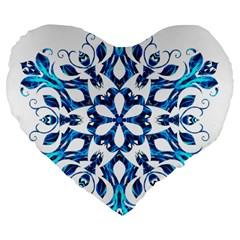 Blue Snowflake On Black Background Large 19  Premium Flano Heart Shape Cushions by Nexatart