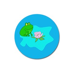 Frog Flower Lilypad Lily Pad Water Magnet 3  (round) by Nexatart