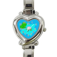 Frog Flower Lilypad Lily Pad Water Heart Italian Charm Watch by Nexatart