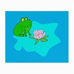 Frog Flower Lilypad Lily Pad Water Small Glasses Cloth by Nexatart