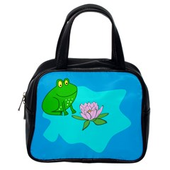Frog Flower Lilypad Lily Pad Water Classic Handbags (one Side) by Nexatart