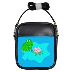 Frog Flower Lilypad Lily Pad Water Girls Sling Bags by Nexatart