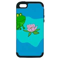 Frog Flower Lilypad Lily Pad Water Apple Iphone 5 Hardshell Case (pc+silicone) by Nexatart