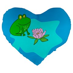 Frog Flower Lilypad Lily Pad Water Large 19  Premium Heart Shape Cushions