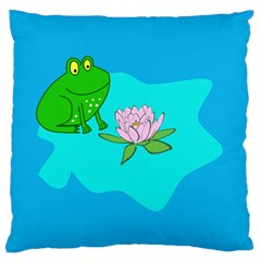 Frog Flower Lilypad Lily Pad Water Standard Flano Cushion Case (two Sides) by Nexatart