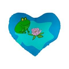 Frog Flower Lilypad Lily Pad Water Standard 16  Premium Flano Heart Shape Cushions by Nexatart