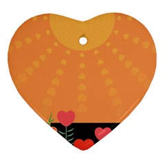 Love Heart Valentine Sun Flowers Heart Ornament (two Sides) by Nexatart