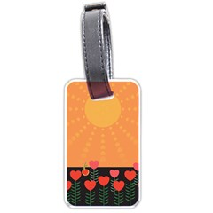 Love Heart Valentine Sun Flowers Luggage Tags (one Side)  by Nexatart