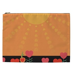 Love Heart Valentine Sun Flowers Cosmetic Bag (xxl)  by Nexatart